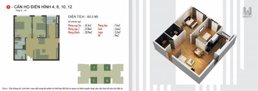 Thiết kế căn hộ 4,6,10,12 chung cư N03T5 Ngoại Giao Đoàn
