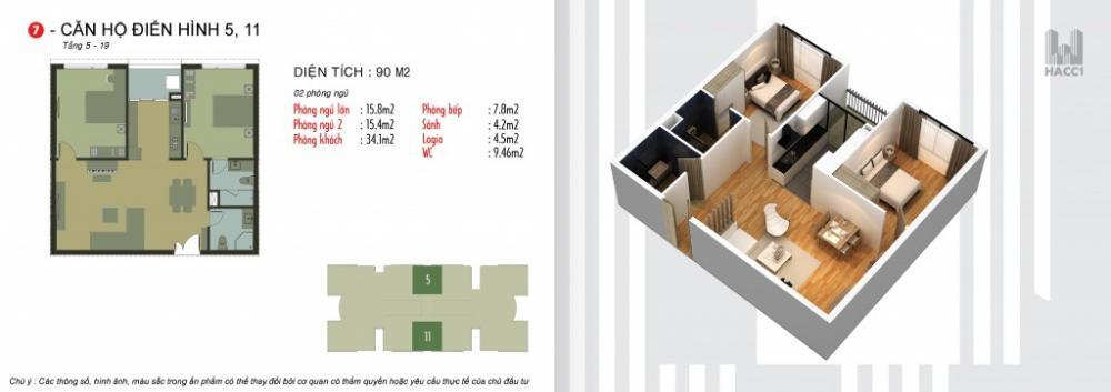 Thiết kế căn hộ 5,11 chung cư N03T5 Ngoại Giao Đoàn