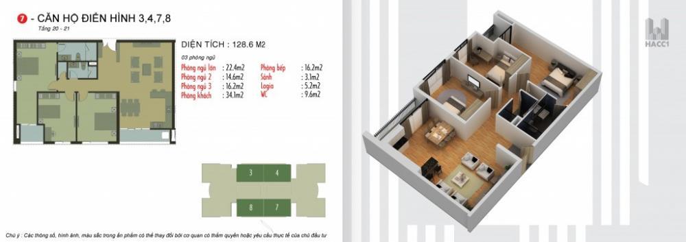 Thiết kế căn hộ 3,4,7,8 chung cư N03T5 Ngoại Giao Đoàn