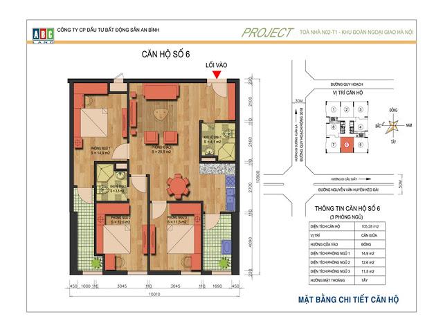 Thiết kế căn hộ số 6 N02T1 Ngoại Giao Đoàn