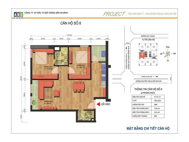 Thiết kế căn hộ số 8 N02T1 Ngoại Giao Đoàn