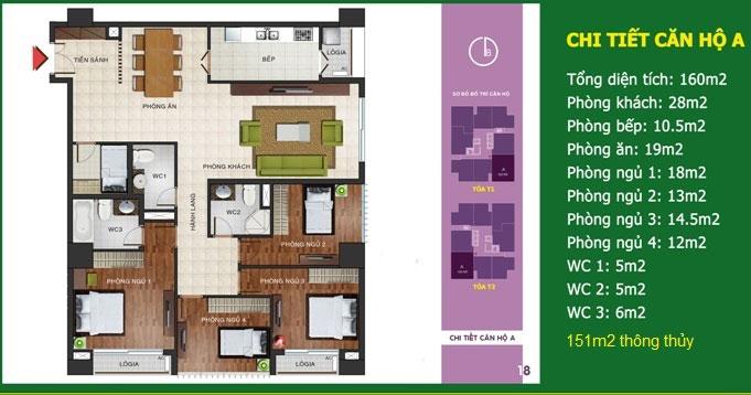 Căn số 01 - Diện tích 160 m2 - N04b Ngoại Giao Đoàn