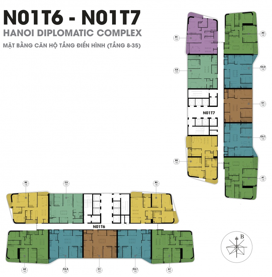 Mặt bằng căn hộ chung cư N01T6 - N01T7 Ngoại Giao Đoàn