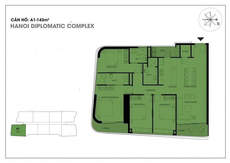 Căn hộ A1 - 143 m2 chung cư Han Jardin - Chung cư N01T6 - N01T7 Ngoại Giao Đoàn