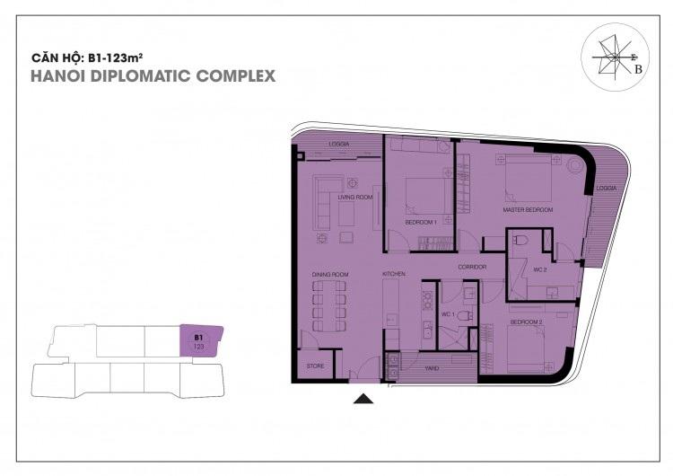 Căn hộ B1 - 123 m2 chung cư Han Jardin