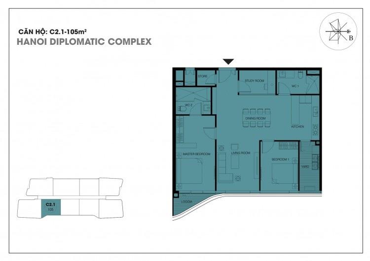 Căn hộ C2.1 - 105 m2 chung cư Han Jardin - Chung cư N01T6 - N01T7 Ngoại Giao Đoàn