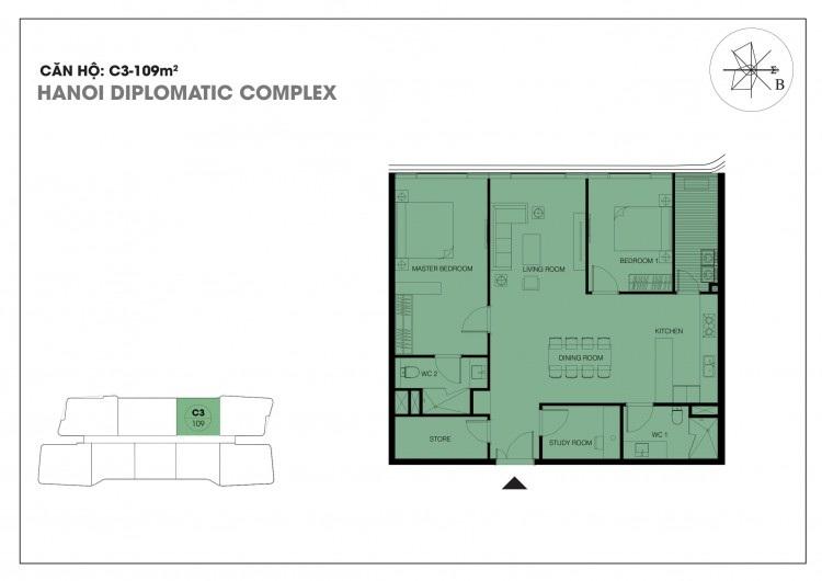 Căn hộ C3 - 109 m2 chung cư Han Jardin