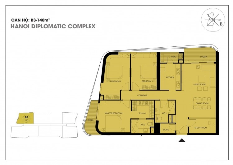 Căn hộ B3 - 140 m2 chung cư Han Jardin - Chung cư N01T6 - N01T7 Ngoại Giao Đoàn
