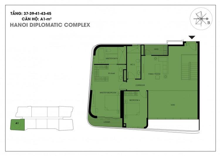 Căn hộ A1 tầng 37 - 39 - 41 - 43 - 45 chung cư Han Jardin