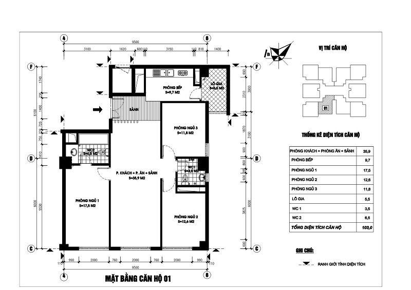Thiết kế căn hộ 01 chung cư N03T1 Ngoại Giao Đoàn