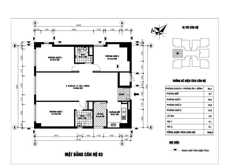 Thiết kế căn hộ 03 chung cư N03T1 Ngoại Giao Đoàn
