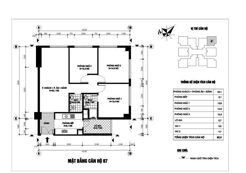 Thiết kế căn hộ 07 chung cư N03T1 Ngoại Giao Đoàn