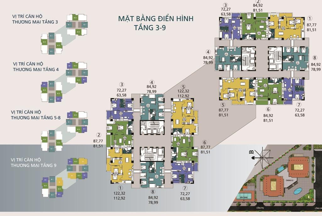 Mặt bằng tầng điển hình tầng 3-9 Chung cư N04A Ngoại Giao Đoàn