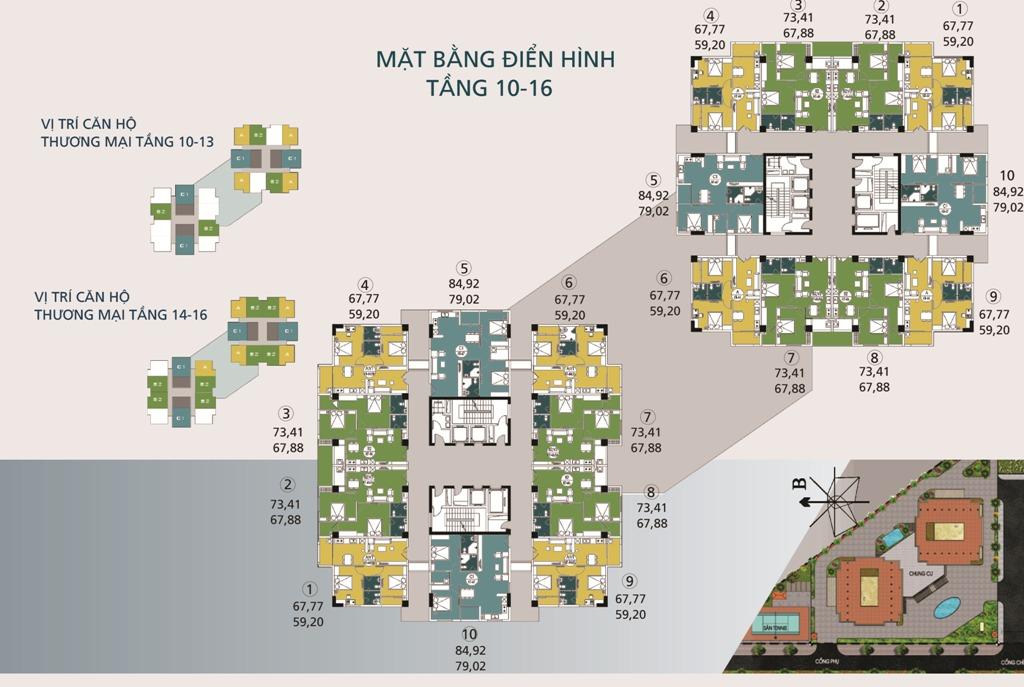 Mặt bằng tầng điển hình tầng 10-16 Chung cư N04A Ngoại Giao Đoàn