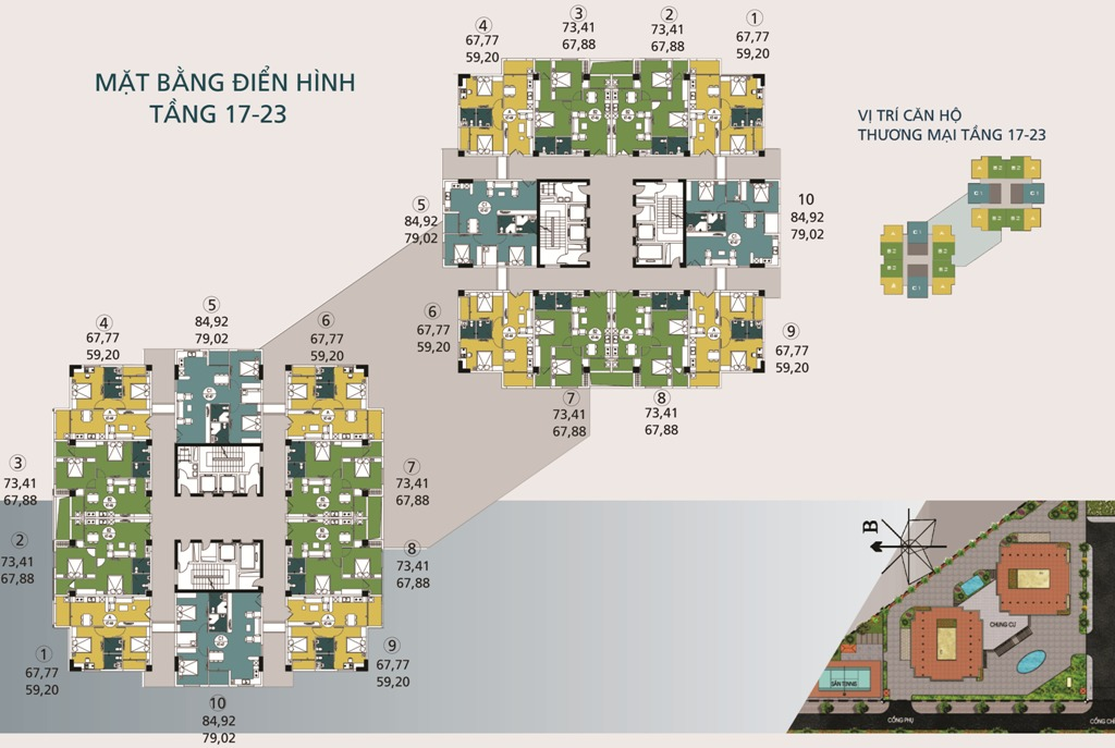 Mặt bằng tầng điển hình tầng 17-23 Chung cư N04A Ngoại Giao Đoàn
