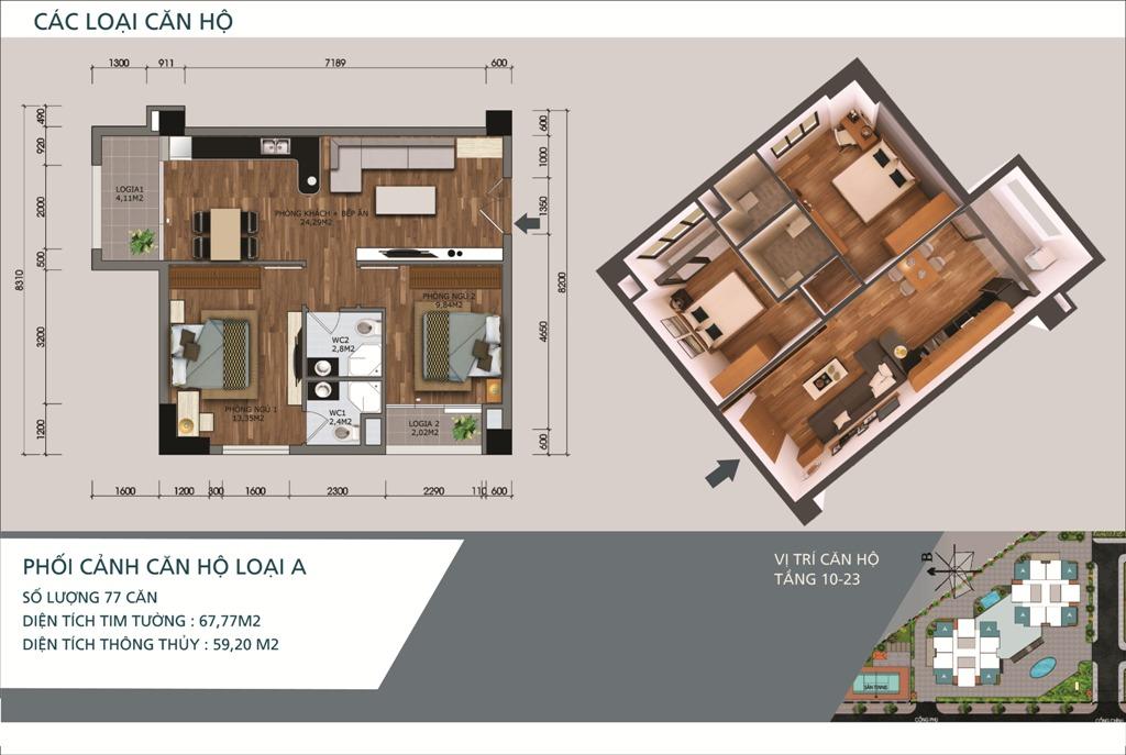 Thiết kế căn hộ loại A Chung cư N04A Ngoại Giao Đoàn