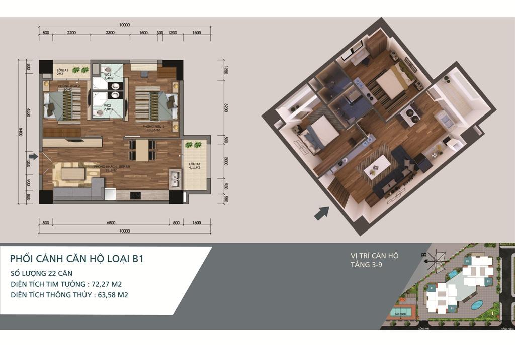 Thiết kế căn hộ loại B1 Chung cư N04A Ngoại Giao Đoàn