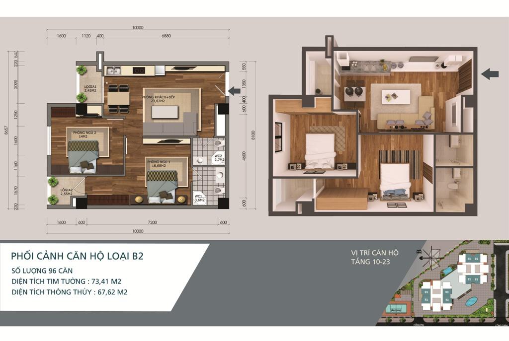 Thiết kế căn hộ loại B2 Chung cư N04A Ngoại Giao Đoàn
