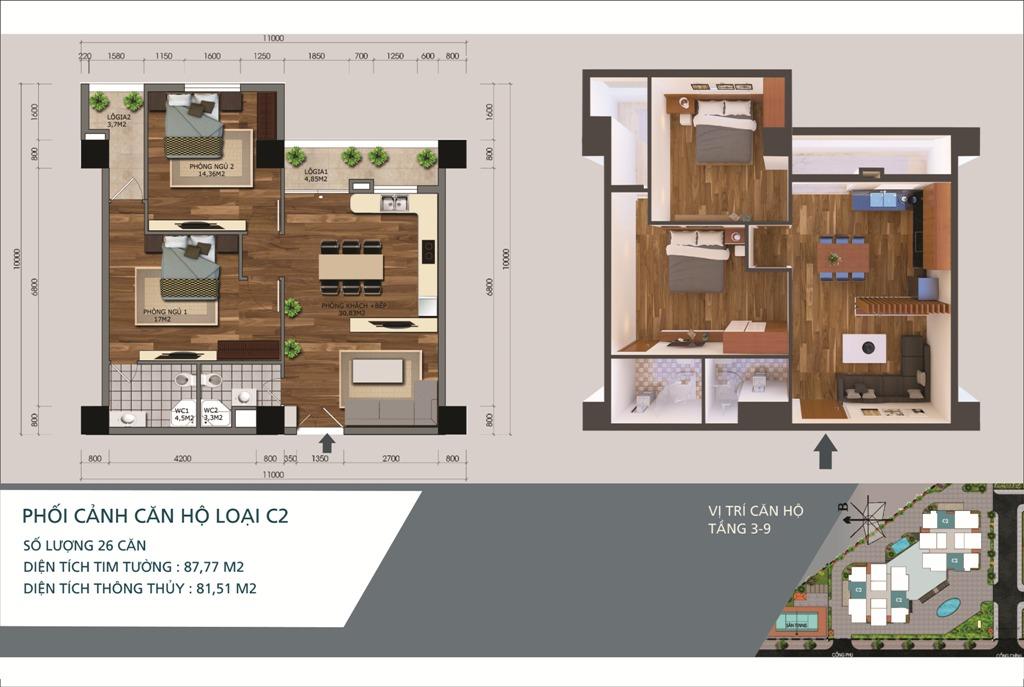 Thiết kế căn hộ loại C2 Chung cư N04A Ngoại Giao Đoàn