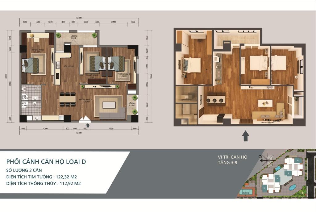 Thiết kế căn hộ loại D Chung cư N04A Ngoại Giao Đoàn