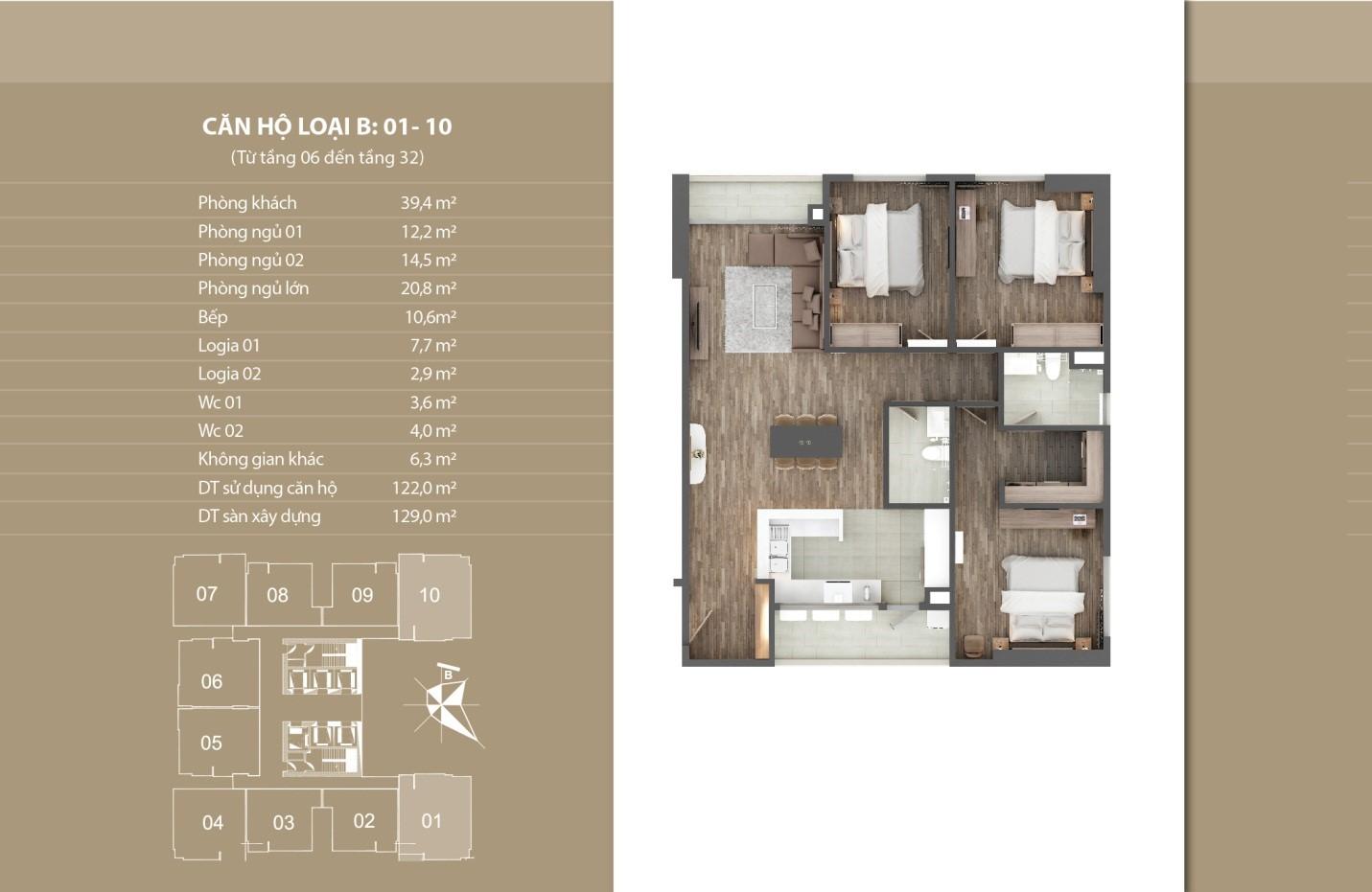 Thiết kế căn hộ 01 - 10 tầng 6 - 32