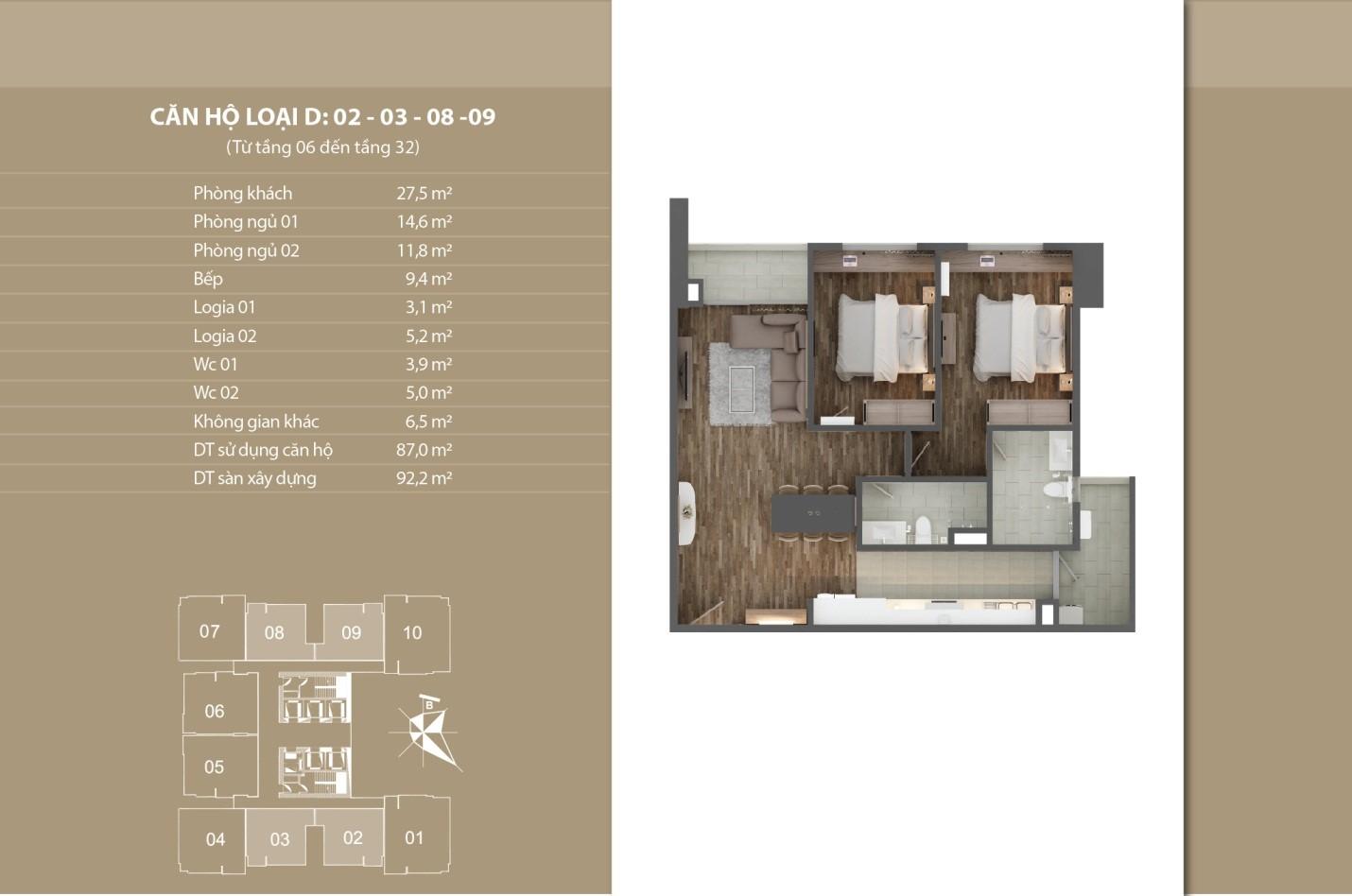 Thiết kế căn hộ 02 - 03 - 08 - 09 tầng 6 - 32
