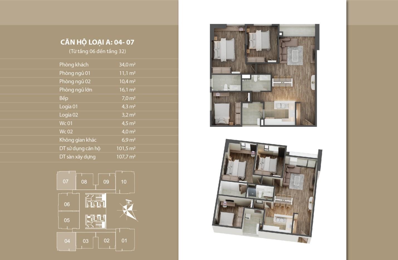 Thiết kế căn hộ 04 - 07 tầng 6 - 32