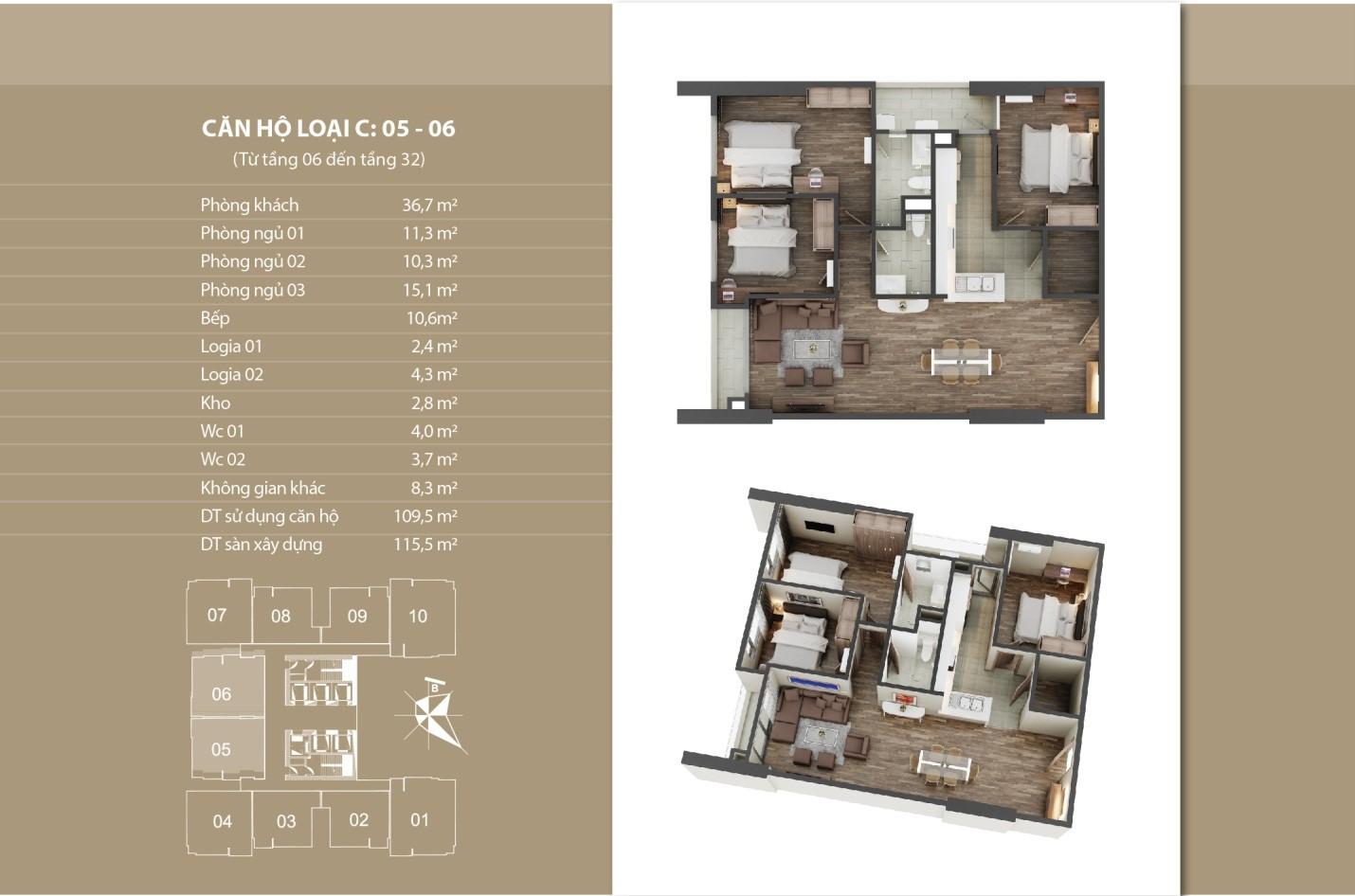 Thiết kế căn hộ 05 - 06 tầng 6 - 32
