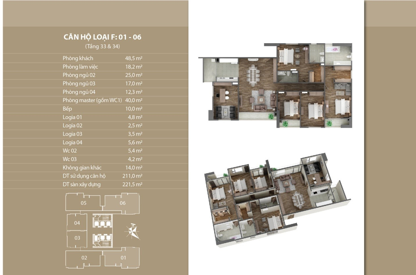 Thiết kế căn hộ 01 - 06 tầng 33 vs 34