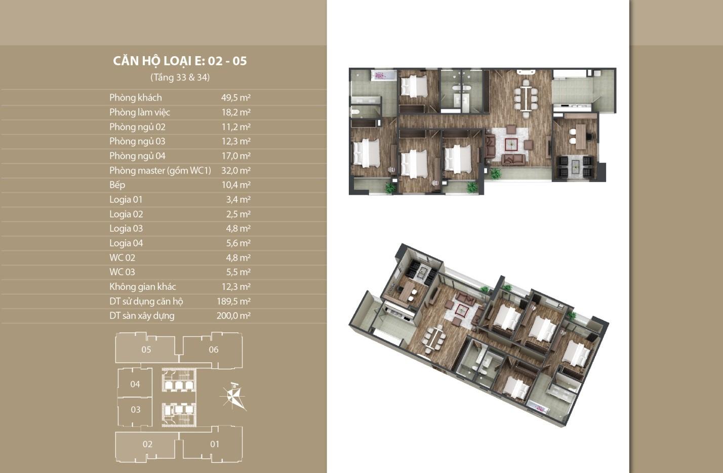 Thiết kế căn hộ 02 - 05 tầng 33 vs 34