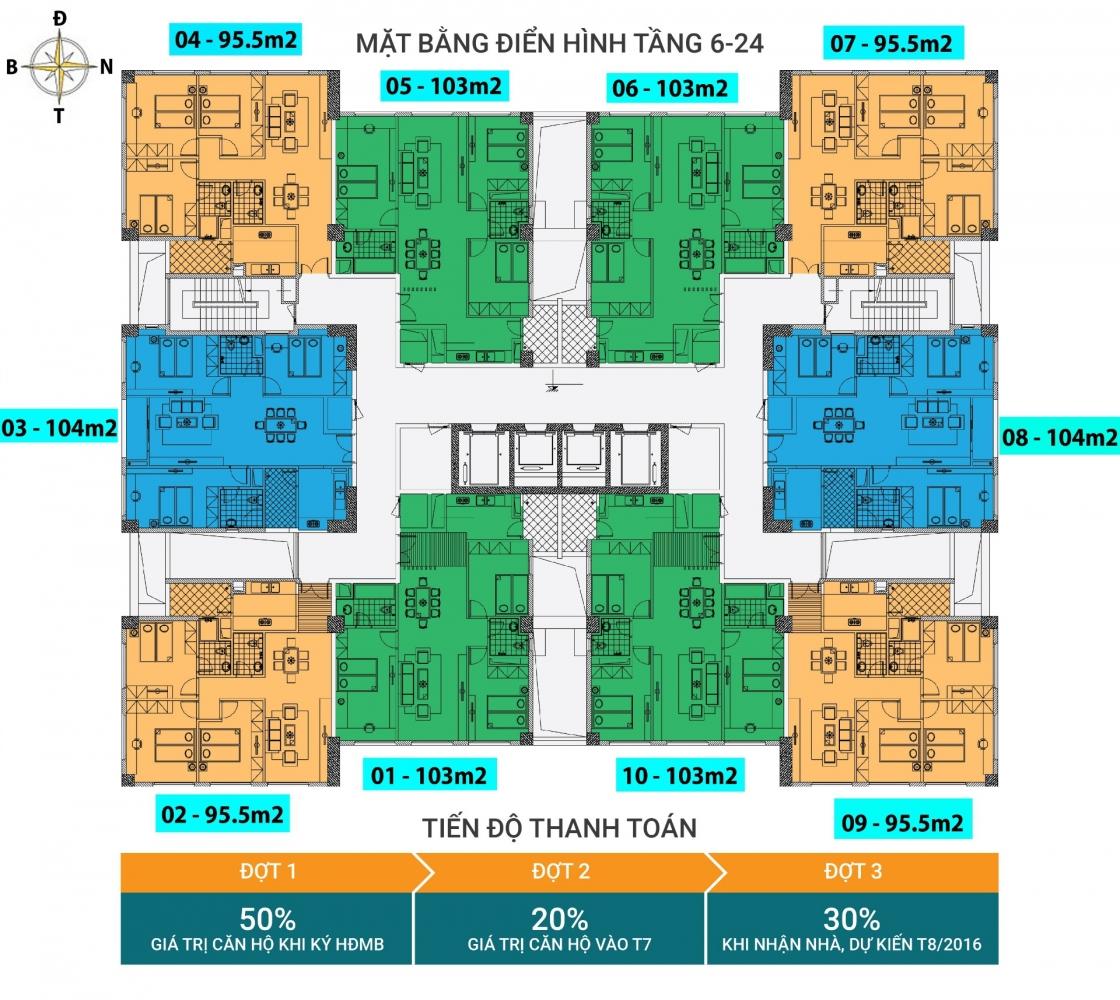 Mặt bằng sàn tầng 6 - 24 chung cư N03T1 Ngoại Giao Đoàn