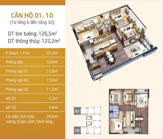 Thiết kế căn hộ 01 - 10 Lạc Hồng Lotus - N01T5 Ngoại Giao Đoàn