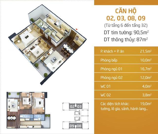 Thiết kế căn hộ 02 - 03 - 08 - 09 Lạc Hồng Lotus N01T5 Ngoại Giao Đoàn