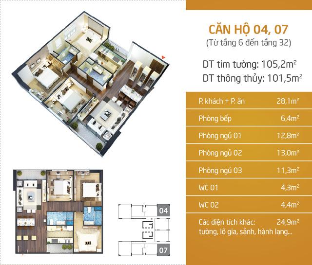 Thiết kế căn hộ 04 - 07 Lạc Hồng Lotus N01T5 Ngoại Giao Đoàn