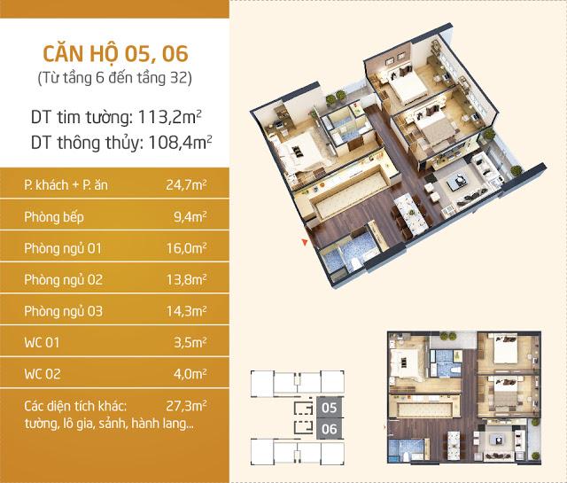 Thiết kế căn hộ 05 - 06 Lạc Hồng Lotus N01T5 Ngoại Giao Đoàn