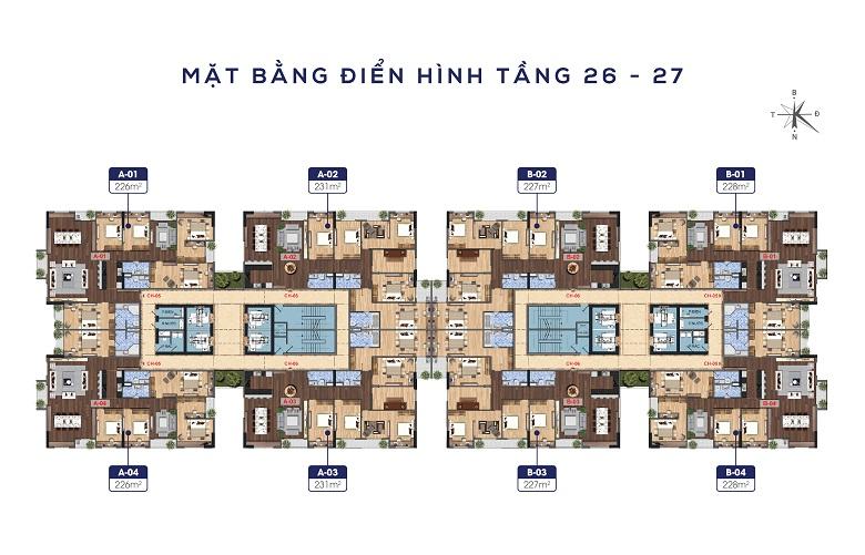 Mặt bằng tầng 26 - 27 Lạc Hồng Lotus 2