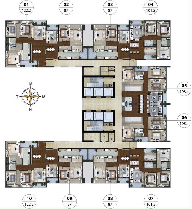 Mặt bằng thiết kế căn hộ N01T5 Ngoai Giao Đoàn - Lạc Hồng Lotus
