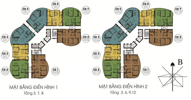 Mặt bằng điển hình 1 - 2 chung cư N01T8 Ngoại Giao Đoàn