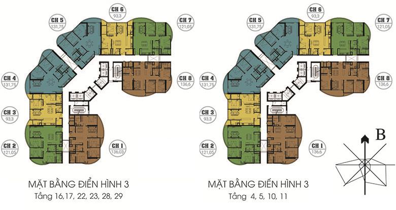 Mặt bằng điển hình 3 chung cư N01T8 Ngoại Giao Đoàn