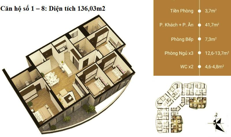 Thiết kế căn hộ 01 - 08 diện tích 136 m2