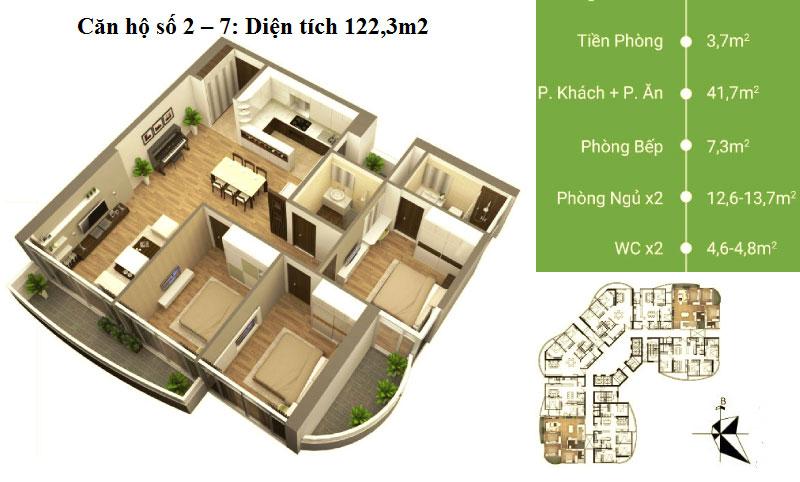 Thiết kế căn hộ 02 - 07 diện tích 122,3 m2