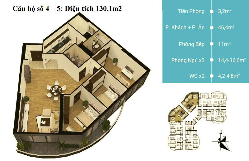 Thiết kế căn hộ 04 - 05 diện tích 130,1 m2