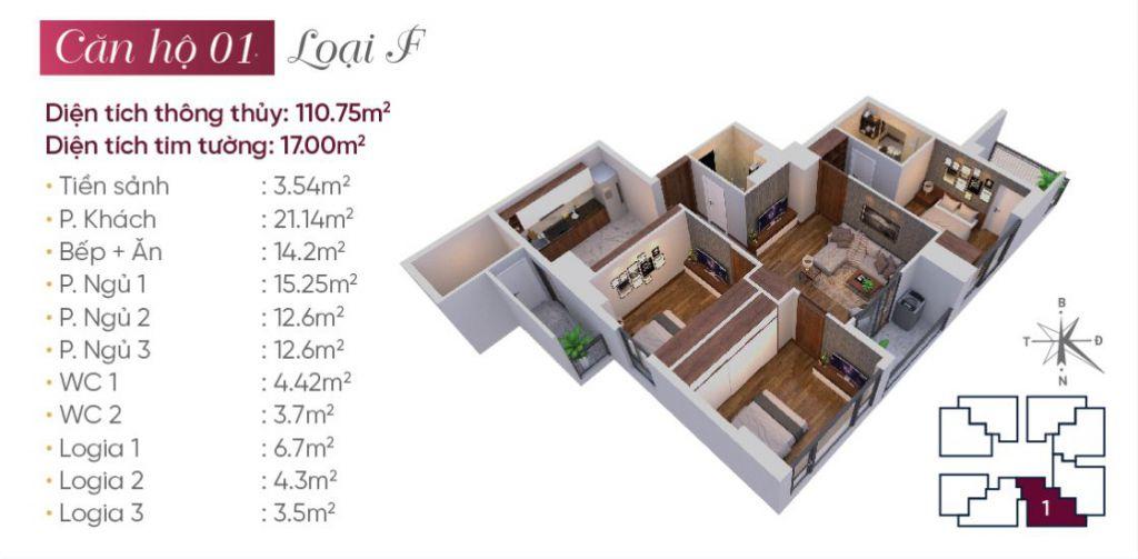 Thiết kế căn hộ loại F N03T7 Ngoại Giao Đoàn