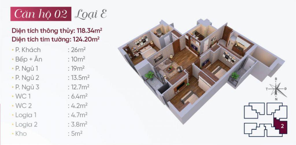 Thiết kế căn hộ loại E N03T7 Ngoại Giao Đoàn