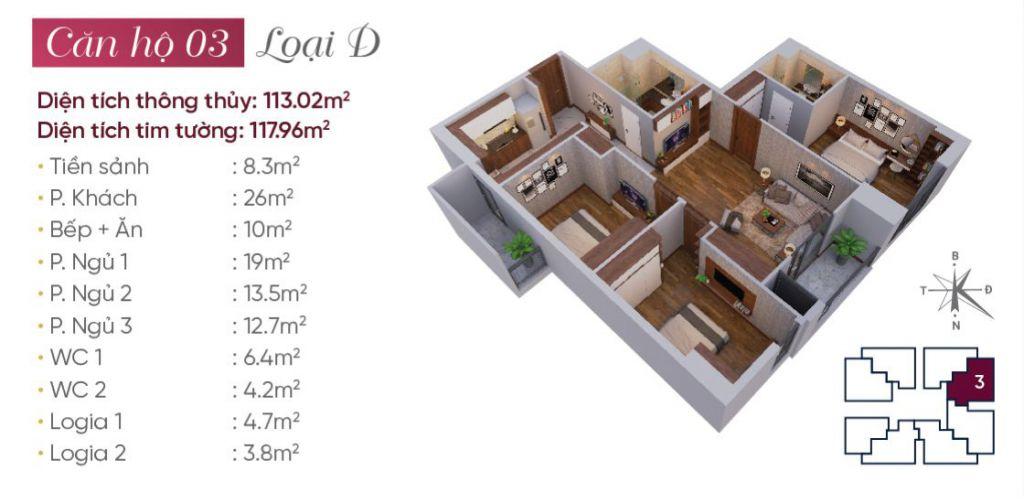 Thiết kế căn hộ loại D N03T7 Ngoại Giao Đoàn