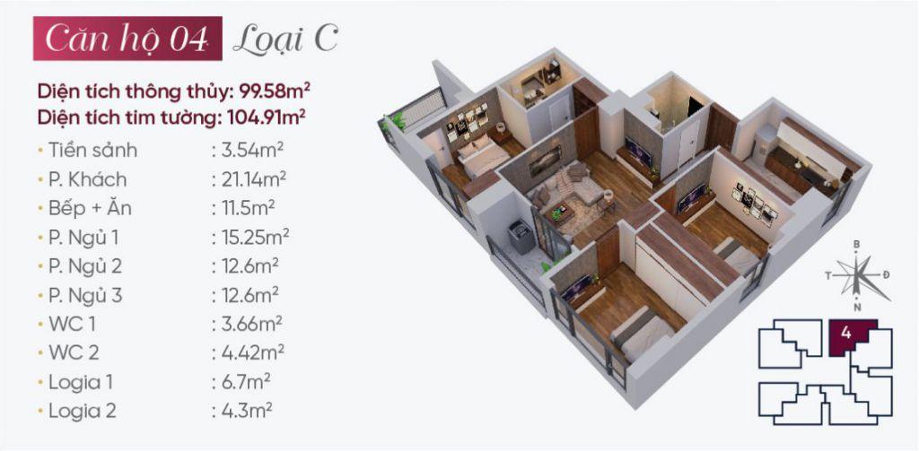 Thiết kế căn hộ loại C N03T7 Ngoại Giao Đoàn