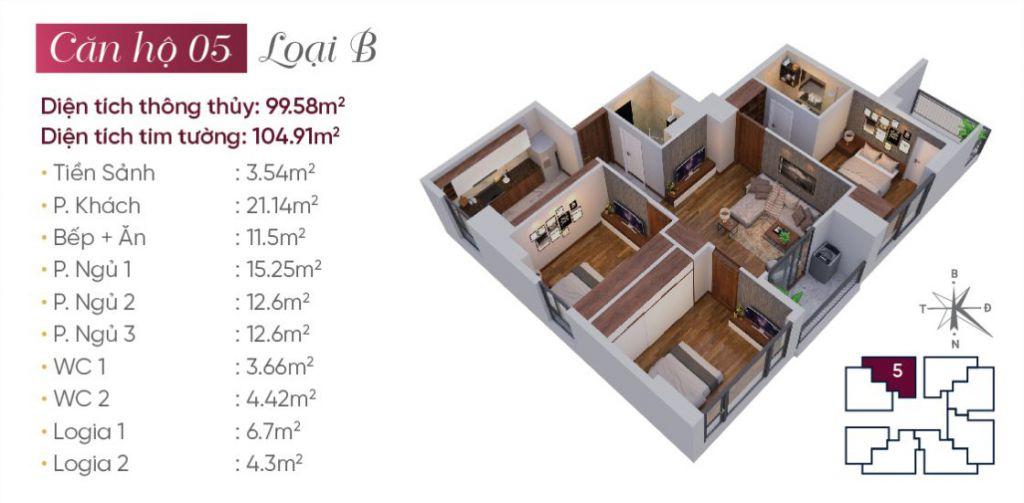 Thiết kế căn hộ loại B N03T7 Ngoại Giao Đoàn