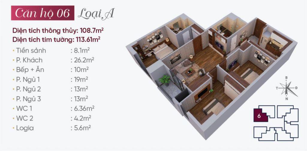 Thiết kế căn hộ loại A N03T7 Ngoại Giao Đoàn