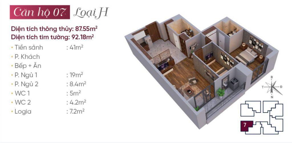 Thiết kế căn hộ loại H N03T7 Ngoại Giao Đoàn