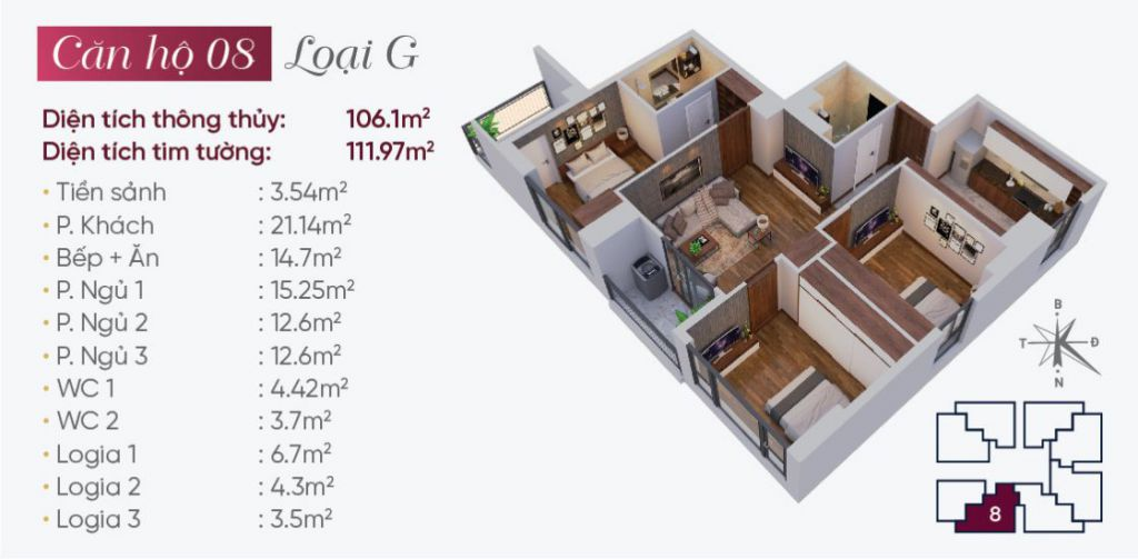 Thiết kế căn hộ loại G N03T7 Ngoại Giao Đoàn